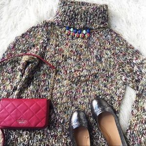 Multi-Colored Knit Turtle Neck Sweater Chunky knit